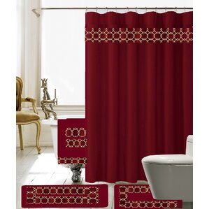 Austyn 18 Piece Embroidery Shower Curtain Set Yellow Gold Curtains You Ll Love Wayfair