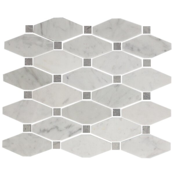 Octagon Offset Random Sized Carrara Marble Mosaic Tile in White/Gray by Susan Jablon