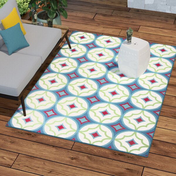 Bowman Blue/White Indoor/Outdoor Area Rug by Wrought Studio