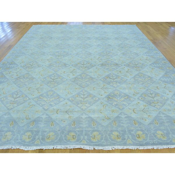 One-of-a-Kind Beauchamp Design Pastel Colors Hand-Knotted Blue Wool Area Rug by Isabelline