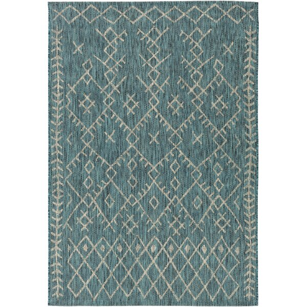 Gunter Bohemian Teal/Khaki Indoor/Outdoor Area Rug by Union Rustic