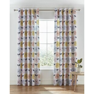retro floral easy care eyelet room darkening curtains set of 2 - Retro Curtains