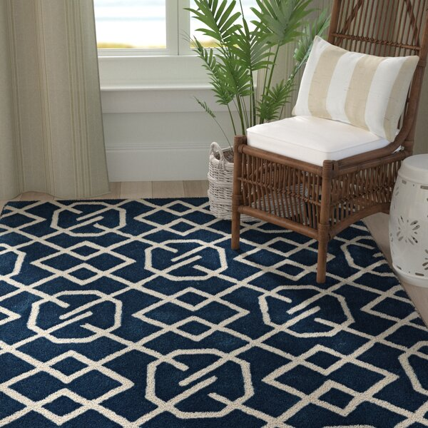 Stephany Hand-Tufted Navy/Ivory Area Rug by Breakwater Bay