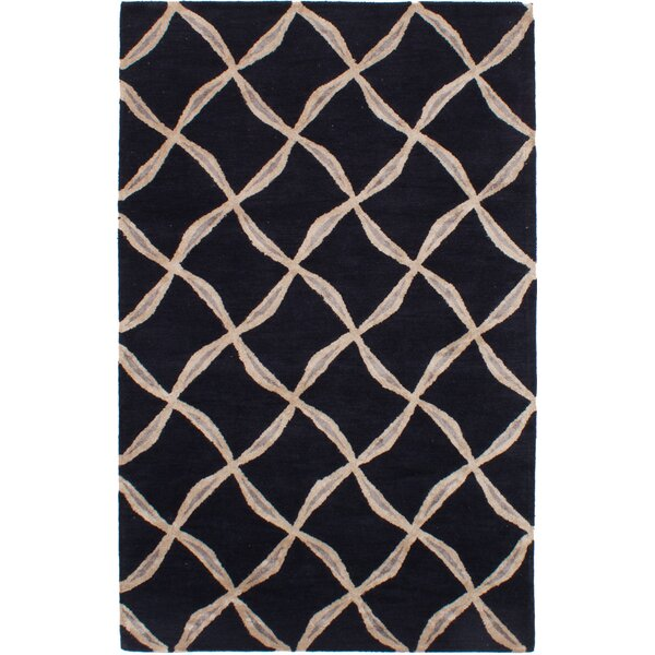 Helton Hand-Tufted Black Area Rug by Mercer41