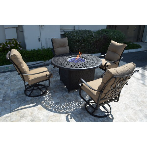 Poulsbo 5 Piece Conversation Set with Cushions by Fleur De Lis Living Fleur De Lis Living