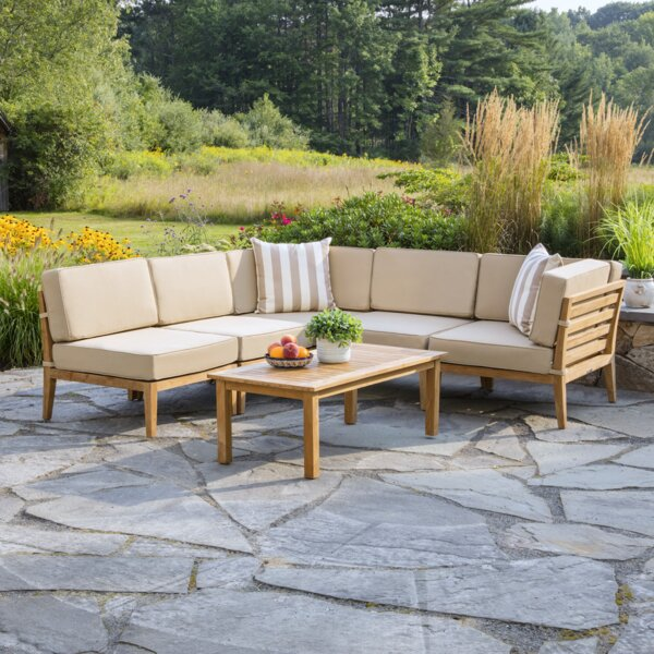 Bali 6 Piece Teak Sectional Set with Cushions by Madbury Road Madbury Road
