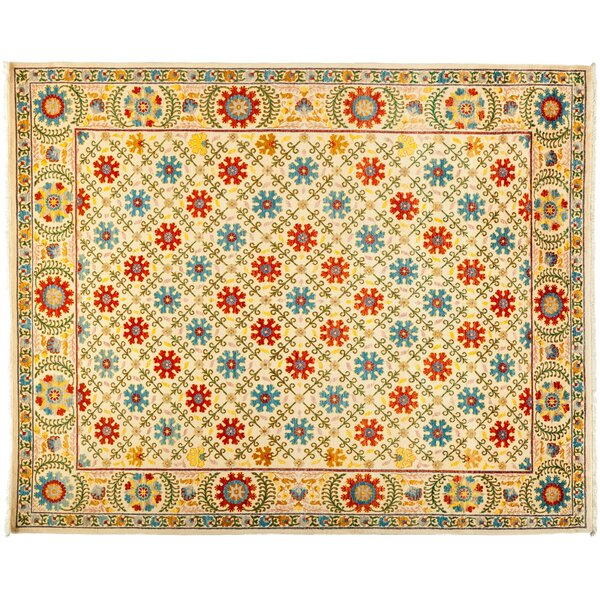 One-of-a-Kind Suzani Hand-Knotted Yellow/Red/Blue Area Rug by Darya Rugs