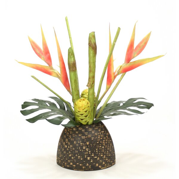 Heliconia, Protea Tropical Floral in Bamboo Pattern Vase by Distinctive Designs