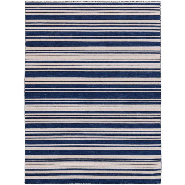 Cavanaugh Flat-Weave Navy Area Rug by Highland Dunes