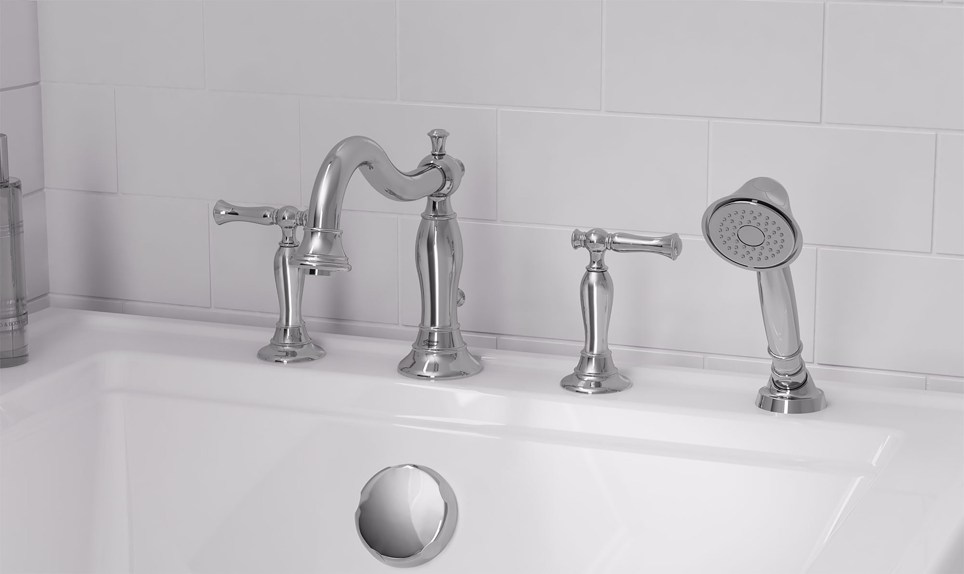 Quentin Double Handle Deck Mounted Roman Tub Faucet Trim With Handshower