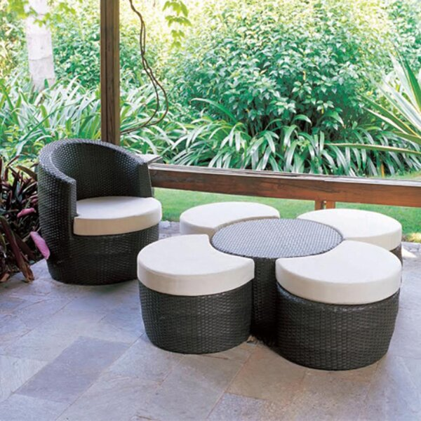 Melrose Outdoor Ottoman with Sunbrella Cushions by Feruci