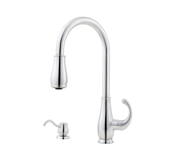 Treviso Single Handle Kitchen Faucet with Side Spray and Soap Dispenser by Pfister