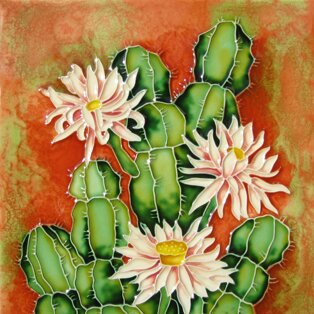 Cactus with Spiky Flowers Tile Wall Decor by Continental Art Center