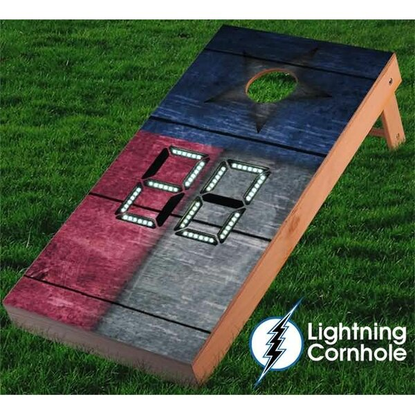 Electronic Scoring Texas Flag Wooden Cornhole Board by Lightning Cornhole