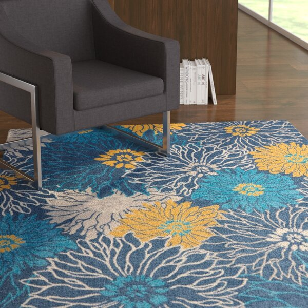 Cloutier Blue Area Rug by Ebern Designs