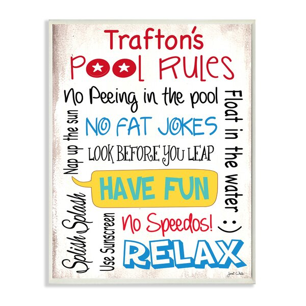 Personalized Pool Rules Rainbow by Janet White Textual Art Plaque by Stupell Industries