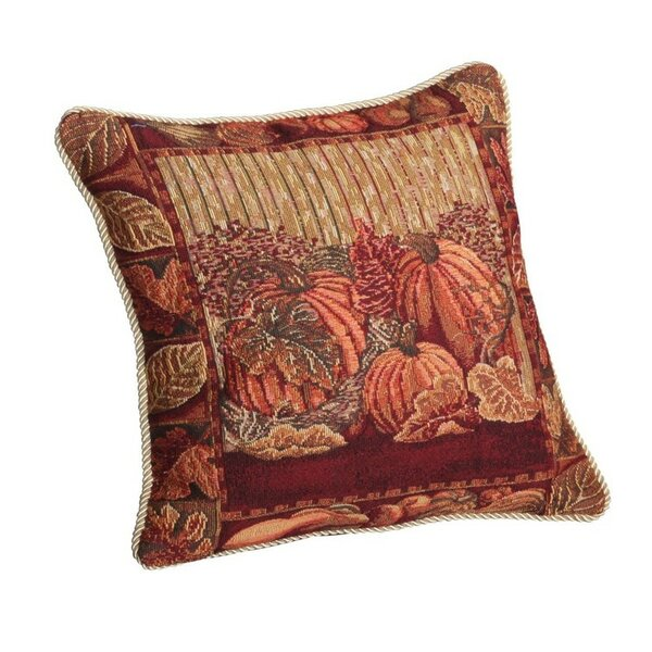 Fall Harvest Pumpkins and Autumn Leaves Throw Pillow by Violet Linen