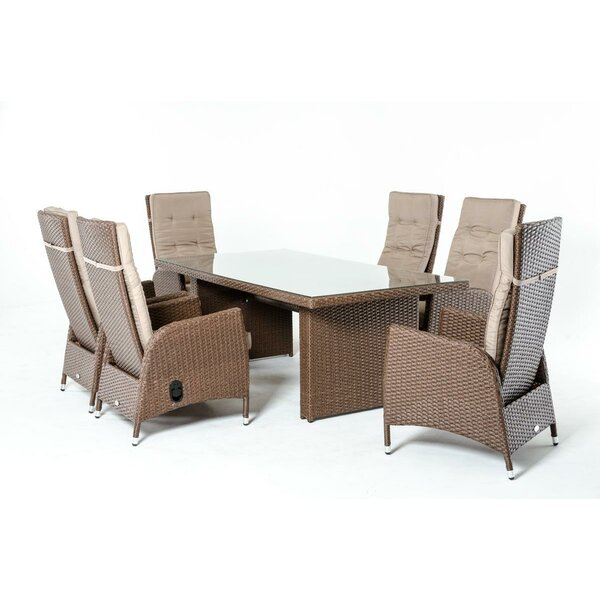 Greenburgh 7 Piece Dining Set with Cushions by Bayou Breeze