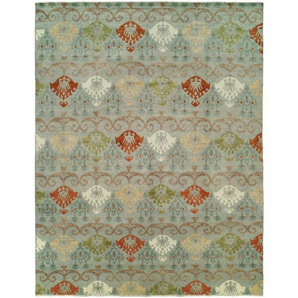Hibbert Hand Knotted Wool Blue/Gray Area Rug by Bloomsbury Market