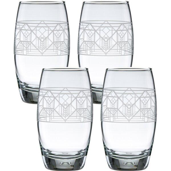 Lake Geneva Tulip 16 oz. Glass Every Day Glass (Set of 4) by Frank Lloyd Wright