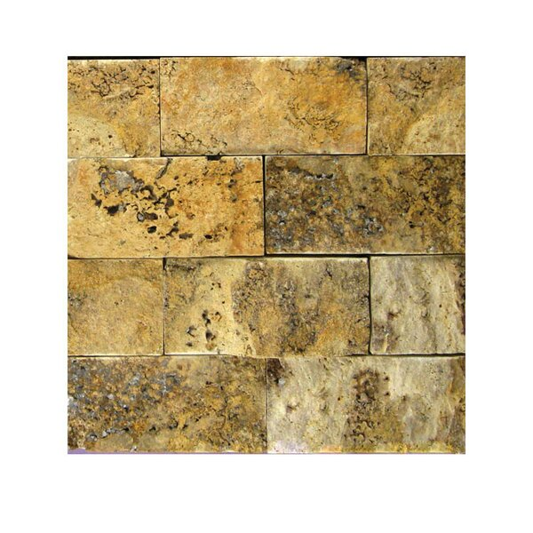 2 x 4 Natural Stone Mosaic Tile in Gold by QDI Surfaces