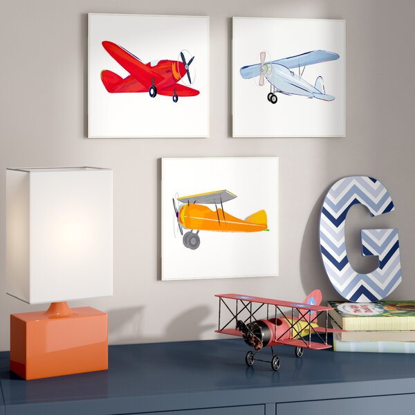 Faria Colorful Airplanes Decorative Plaque (Set of 3) by Harriet Bee