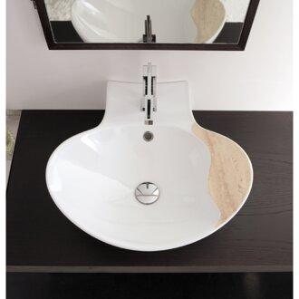 Zefiro Ceramic Oval Vessel Bathroom Sink with Overflow