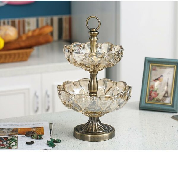 Lamendola Vintage High Quality Glass 2-Tiered Candy Dish by House of Hampton