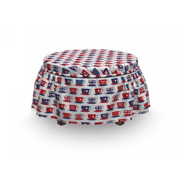 Tea Party Britain Teacups 2 Piece Box Cushion Ottoman Slipcover Set By East Urban Home