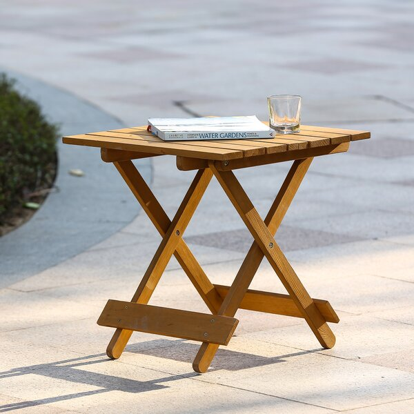 Chartier Folding Wood Side Table by Highland Dunes