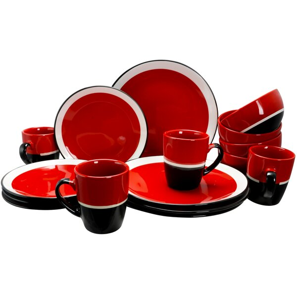 Gibson Eclipse 16 Piece Dinnerware Set, Service for 4 by Coca Cola