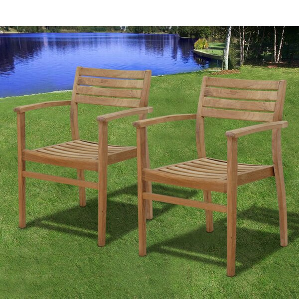 Amos Stacking Teak Patio Dining Chair (Set of 4) by Longshore Tides