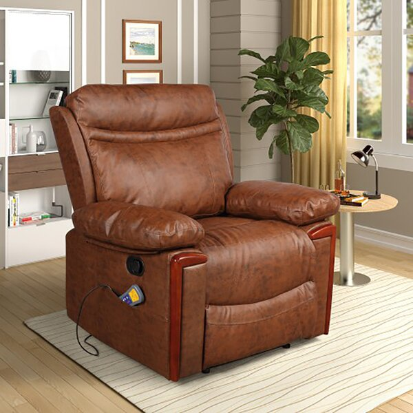 Top Grain Leather Power Reclining Heated Full Body Massage Chair W003262145