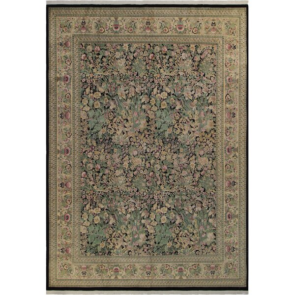 Bellomy Hand-Knotted Wool Black/Tan Area Rug by Astoria Grand
