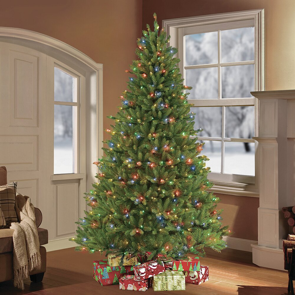 puleo puleo international 75 ft fraser fir artificial christmas tree with 750 clear multi colored led ul listed lights wayfair