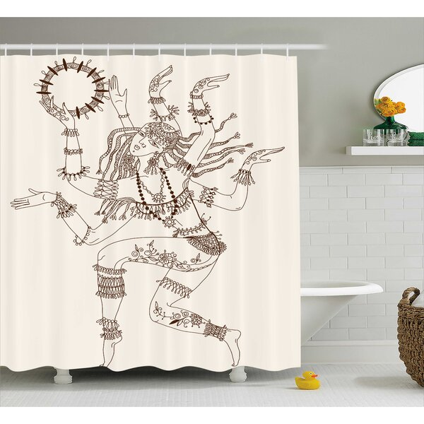 Nizar Yoga Dancing Multiple Armed God Eastern Ethnic Female Sublime Woman Deity Image Shower Curtain by World Menagerie