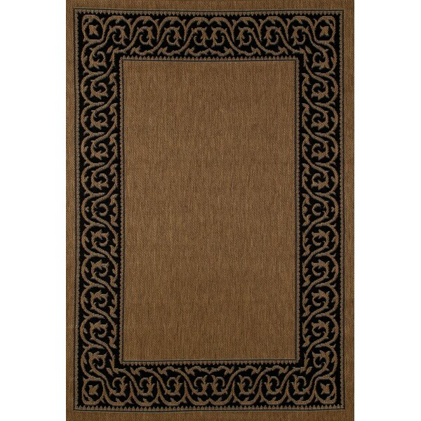 Beaminster Brown/Black Indoor/Outdoor Area Rug by Fleur De Lis Living