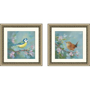 'Woodland Birds I' 2 Piece Framed Acrylic Painting Print Set by Alcott Hill