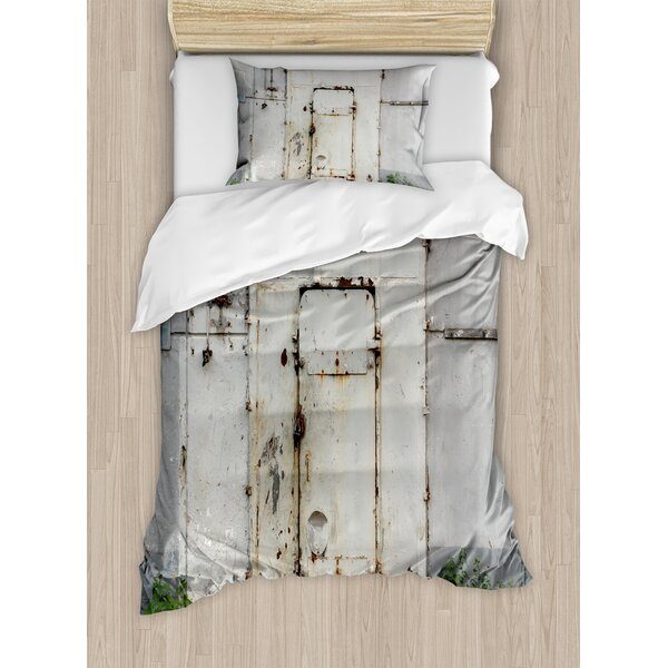 Industrial Closed Worn Out Rusty Iron Door Abandoned Building Factory Picture Duvet Set by Ambesonne