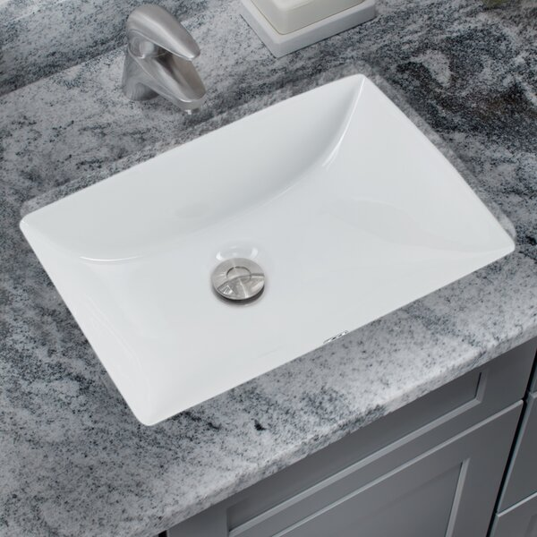 Glazed Vitreous China Rectangular Undermount Bathroom Sink with Overflow by Soleil