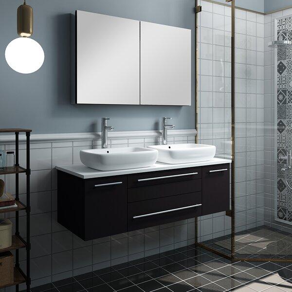 Lucera 48 Wall Hung Double Vessel Sink Bathroom Vanity