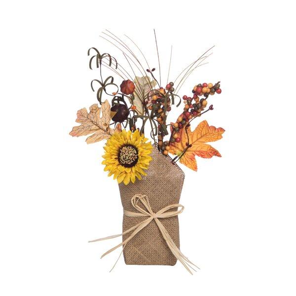Valor Sunflower Floral Arrangement by August Grove