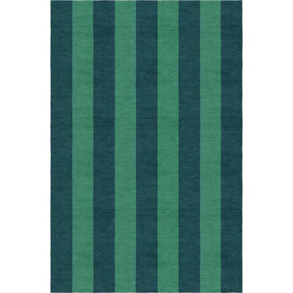 Wathen Stripe Hand-Woven Wool Green/Teal Area Rug by Breakwater Bay
