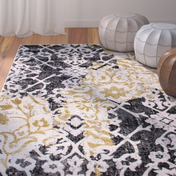 Rosie Ikat Yellow/Gray Area Rug by Bungalow Rose