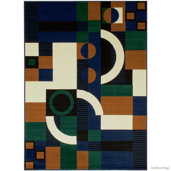 Hand-Woven Navy/Green Area Rug by AllStar Rugs