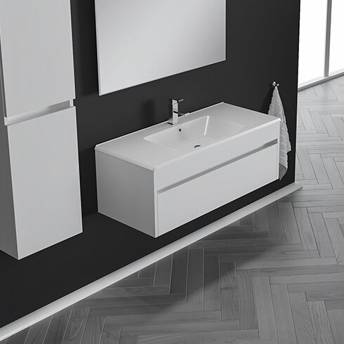 Nico 26 Wall-Mounted Single Bathroom Vanity Set with Mirror by Orren Ellis