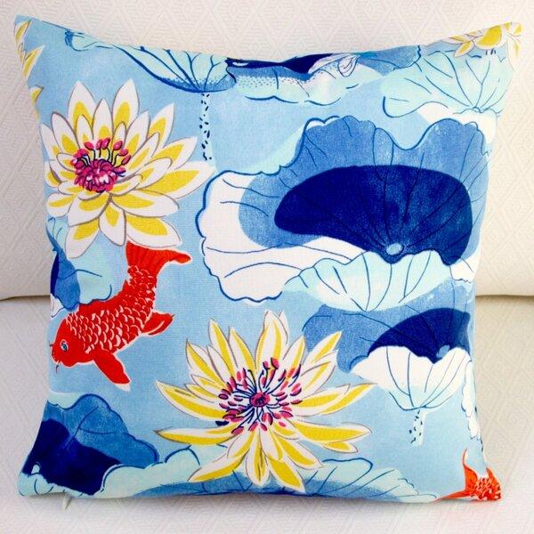 Lotus Lake Koi Fish Cobalt Indoor/Outdoor Pillow Cover (Set of 2) by Artisan Pillows