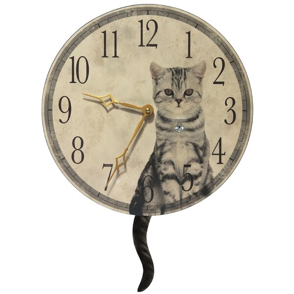 Round Cat Purrfect Timing Clock by Red Barrel Studio