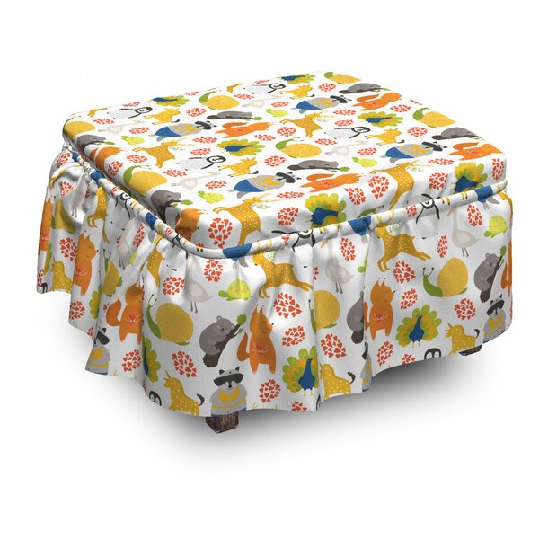 Cartoon Exotic Animals Ottoman Slipcover (Set Of 2) By East Urban Home