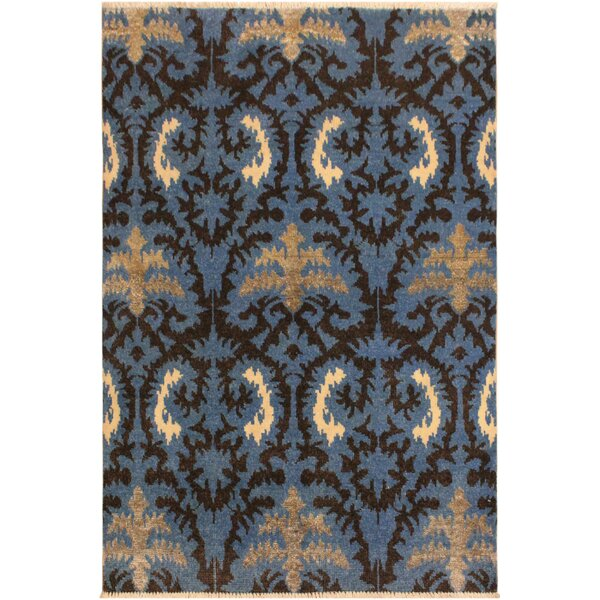 One-of-a-Kind Abdul Hand Knotted Wool Light Blue/Charcoal Area Rug by Isabelline